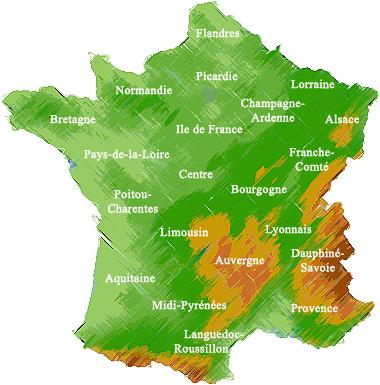carte de france. Carte de France des terrains