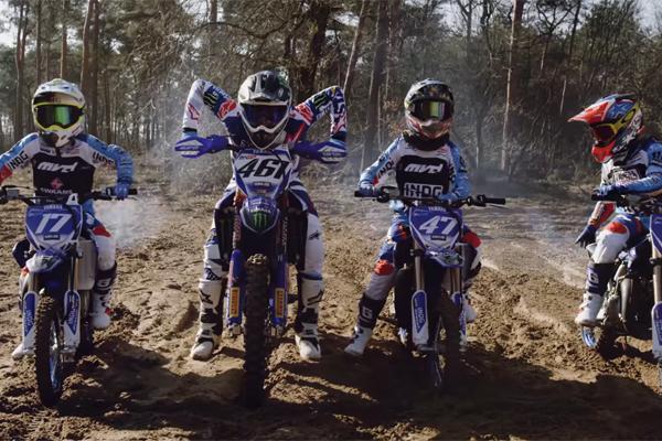 Romain Febvre ride avec des pilotes juniors EMX 65cc